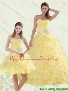 Puffy Beading and Ruffles Sweetheart Quinceanera Dress in Yellow