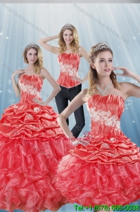 2015 Gorgeous Watermelon Red Quinceanera Dresses with Appliques and Pick Ups