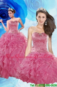 2015 Luxurious Coral Red Quince Dresses with Beading and Ruffles