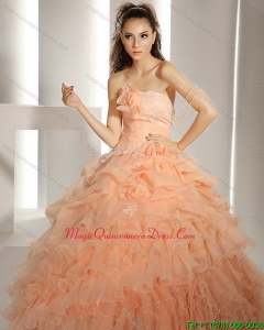 2015 New Style Quinceanera Dresses with Hand Made Flowers and Ruffled Layers