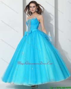 2015 Modern Beading Baby Blue Quinceanera Dresses with Bownot