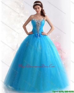 2015 Modern Blue Quinceanera Dresses with Rhinestones and Bowknot