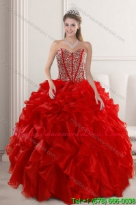 2015 Puffy Red Quinceanera Dresses with Beading and Ruffles