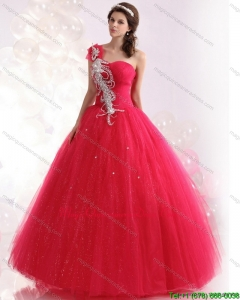 Modern One Shoulder Dresses for a Quinceanera with Beading for 2015