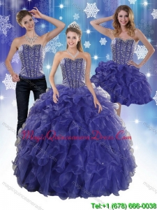 Puffy 2015 Beading and Ruffles Quince Dresses in Royal Bule