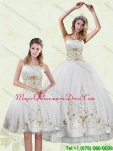 Puffy Appliques White and Gold Quinceanera Dress for 2015