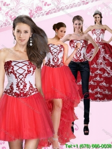 Puffy Multi Color Strapless Quinceanera Dress with Embroidery for 2015