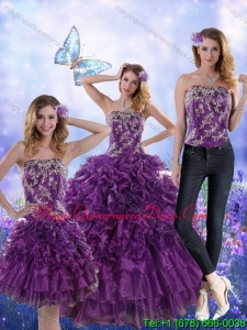 Puffy Purple Strapless Quince Dresses with Appliques and Ruffles for 2015