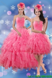 Puffy Rose Pink Quince Dresses with Ruffles and Beading for 2015