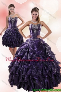 Puffy Sweetheart Ruffled 2015 Quinceanera Dresses with Embroidery