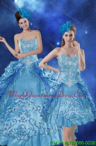 Puffy Teal 2015 Quince Dresses with Embroidery and Pick Ups