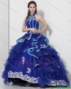 Modern Halter Top Appliques Blue 2015 Quinceanera Dresses with Ruffles and Brush Train