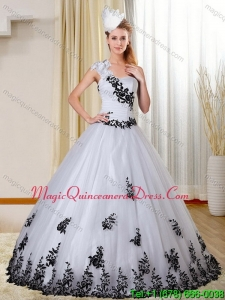 Puffy One Shoulder White and Black Quinceanera Dress with Appliques for 2015