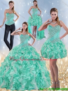 Puffy Sweetheart Quinceanera Dresses in Apple Green with Ruffles and Beading for 2015