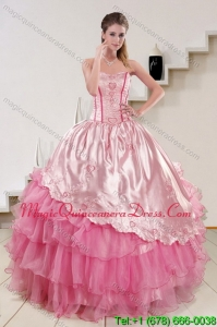 Strapless Pink 2015 Modern Quinceanera Dresses with Embroidery and Ruffles