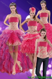 2015 Modern Beading and Lace Quinceanera Dresses in Hot Pink