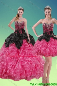2015 Modern Beading and Ruffles Quince Dresses in Multi Color