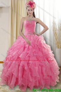 2015 Modern Rose Pink Quinceanera Dresses with Ruffles and Beading