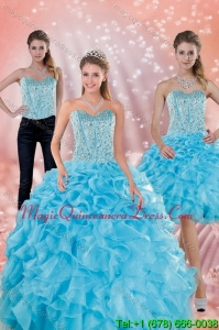 2015 Modern Sweetheart Ruffles Quinceanera Dresses in Baby Blue