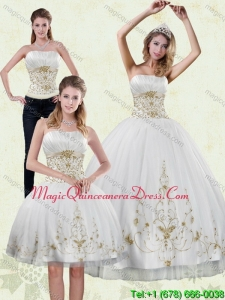 Modern 2015 Strapless Appliques White and Gold Quinceanera Dresses