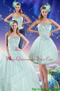 Modern Apple Green Strapless 2015 Quinceanera Dresses with Beading