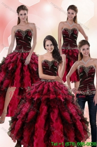Modern Multi Color Dresses for Quince with Ruffles and Beading