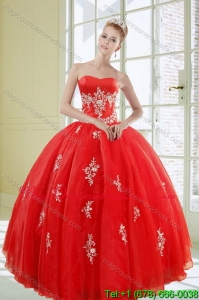 2015 Modern Red Quinceanera Dresses with Appliques
