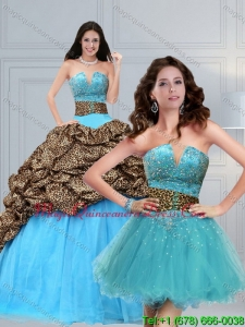 Modern 2015 Leopard Printed Baby Blue Brush Train Beading Quinceanera Dress