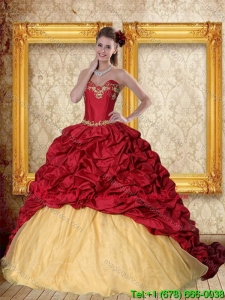 Modern 2015 Wine Red Brush Train Quinceanera Dress with Sweetheart