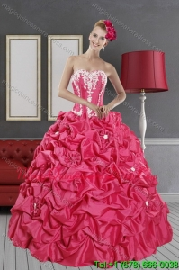 Modern Hot Pink Dresses for Quince with Pick Ups and Appliques