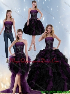 Modern Multi Color Strapless Quinceanera Dresses with Beading and Ruffles