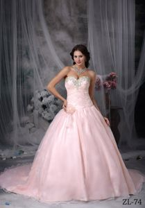 Fashionable Court Train Baby Pink Quinceanera Dresses with Beading