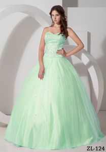 Huasco Chile Top Apple Green Ball Gown Sweet 16 Dresses with Beading