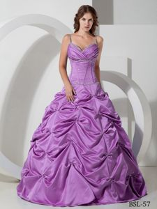 Spaghetti Straps Pick-ups Beaded Purple Sweet 16 Dresses in Soacha Colombia