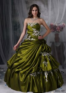 Cheap Taffeta Appliqued Olive Green Quinceanera Gown Dress under 200