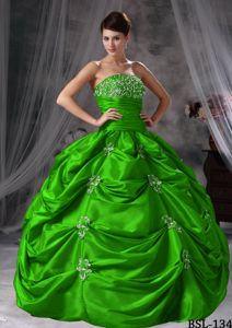 Plus Size Strapless Appliqued Green Quinceanera Dress for Wholesale