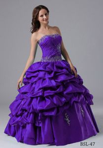 Latest Pick-ups Beaded Purple Quinceanera Gown Dresses for Small Girl