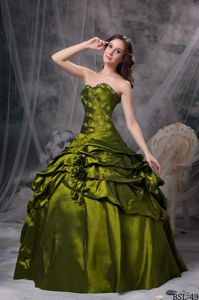 Upscale Taffeta Appliqued Olive Green Quince Dress with Flowers and Pick-ups