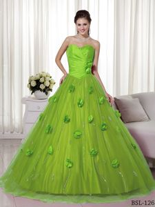 Trendy Spring Green Brush Train Dress for Quinceanera with Handmade Flowers