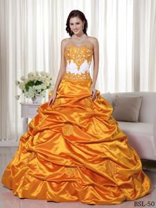 Orange and White Taffeta Quinceanera Dress with Appliques and Pick-ups