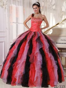 Desirable One Shoulder Multi-color Quince Dresses with Beads and Ruffles