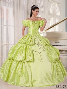 Snow White Off The Shoulder Embroidered Quince Dress in Yellow Green