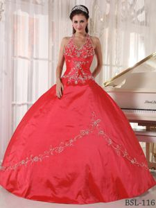 Special Design Halter Red Ball Gown Dress for Quinceanera with Appliques