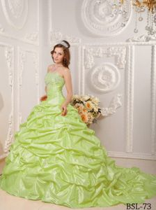 Modernistic Court Train Yellow Green Quince Dresses with Pick-ups and Beads