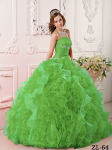 Hot Sale Ruffled Beaded Quinceanera Gown in Green for a Cheap Price