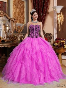 Ball Gown Ruffled Rose Pink and Black Dress for Quinceanera Patterns