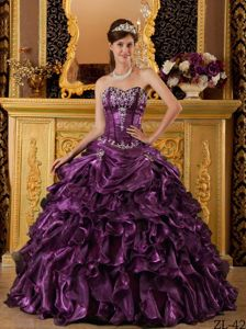 Traditional Dark Purple Ruffled Appliqued Quinceanera Gowns in Fashion