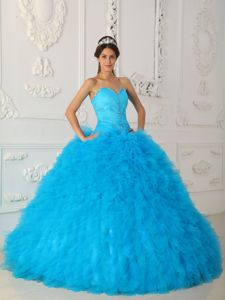 The Best Aqua Blue Ball Gown Sweet Sixteen Dresses with Beading on Sale
