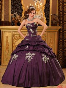 Mature Appliqued Dark Purple Quinceanera Gown with Pick-ups on Sale