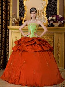 Rust Red and Yellow Green Dress for Quinceanera with Pick-ups and Appliques